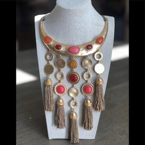 NWT Chico's Coral Pink Gold Tassel Bib Necklace